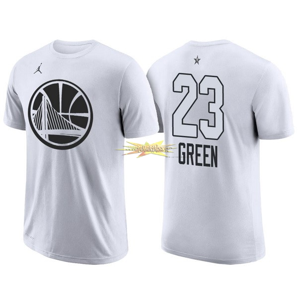 Nouveau Maillot NBA 2018 All Star Manche Courte NO.23 Draymond Green Blanc