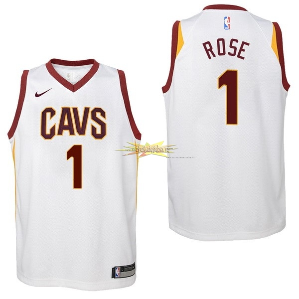 Nouveau Maillot NBA Enfant Cleveland Cavaliers NO.1 Derrick Rose Blanc Association 2017-18