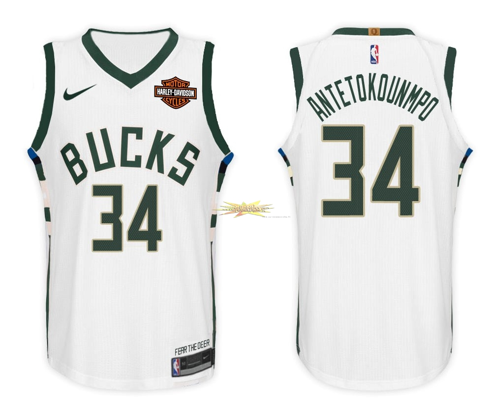 Nouveau Maillot NBA Enfant Milwaukee Bucks NO.34 Giannis Antetokounmpo Blanc 2017-18