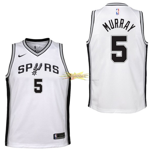 Nouveau Maillot NBA Enfant San Antonio Spurs NO.5 Dejounte Murray Blanc Association 2017-18