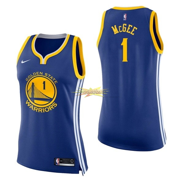 Nouveau Maillot NBA Femme Golden State Warriors NO.1 JaVale McGee Bleu Icon