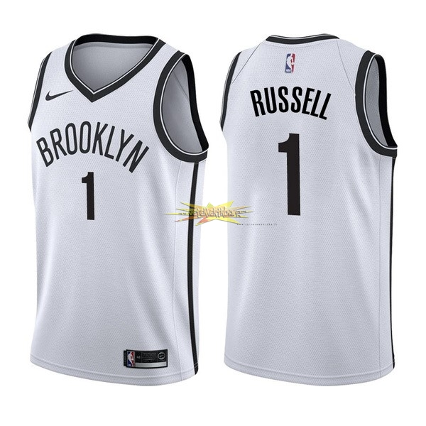 Nouveau Maillot NBA Nike Brooklyn Nets NO.1 D'Angelo Russell Blanc Association