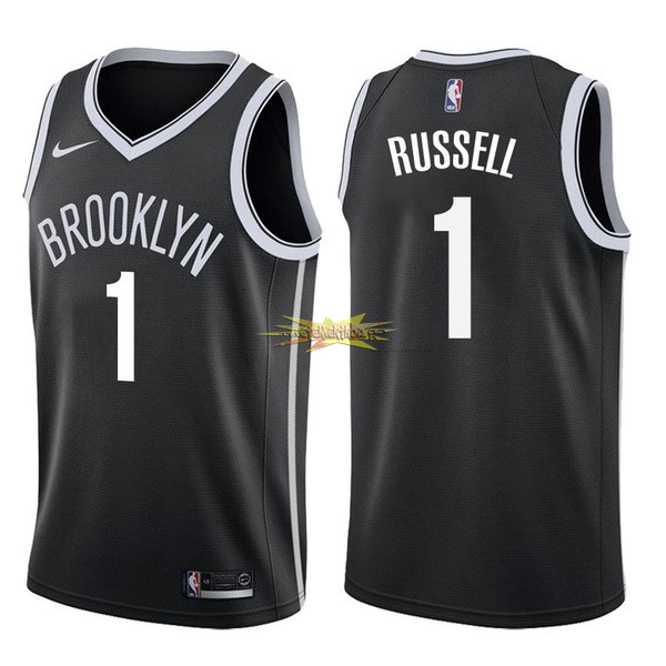 Nouveau Maillot NBA Nike Brooklyn Nets NO.1 D'Angelo Russell Noir Icon