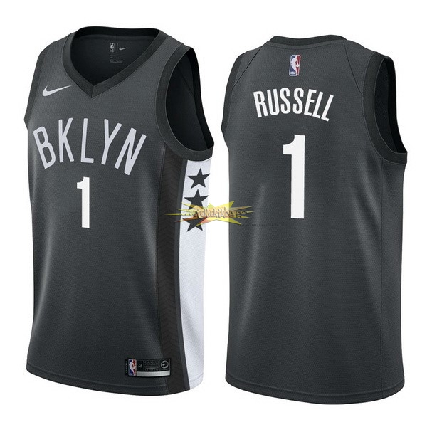 Nouveau Maillot NBA Nike Brooklyn Nets NO.1 D'Angelo Russell Noir Statement