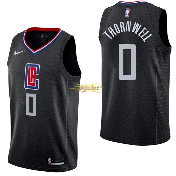 Nouveau Maillot NBA Nike Los Angeles Clippers NO.0 Sindarius Thornwell Noir Statement