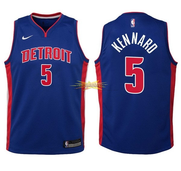 Nouveau Maillot NBA Enfant Detroit Pistons NO.5 Luke Kennard Bleu Icon