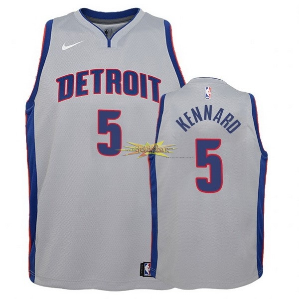 Nouveau Maillot NBA Enfant Detroit Pistons NO.5 Luke Kennard Gris Statement