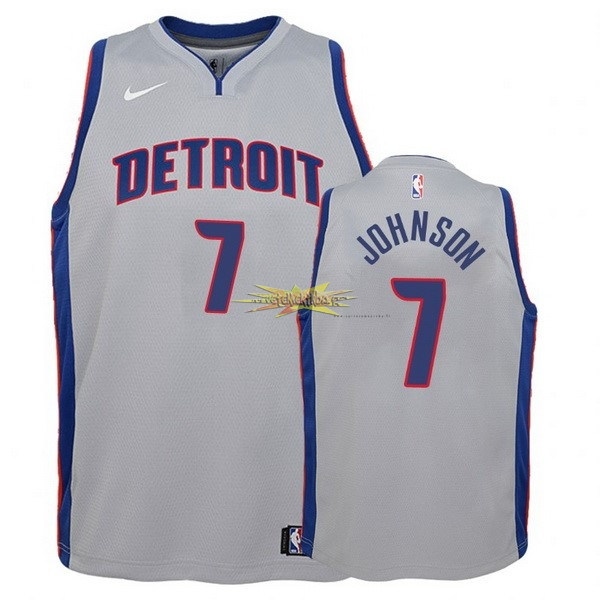Nouveau Maillot NBA Enfant Detroit Pistons NO.7 Stanley Johnson Gris Statement
