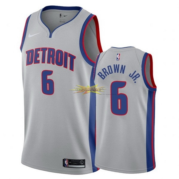 Nouveau Maillot NBA Nike Detroit Pistons NO.6 Bruce Brown Jr Gris Statement 2017-18