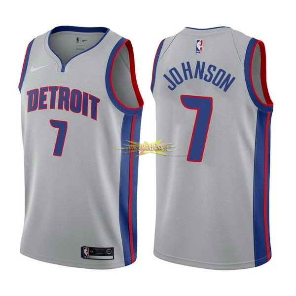 Nouveau Maillot NBA Nike Detroit Pistons NO.7 Stanley Johnson Gris Statement 2017-18