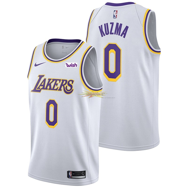 Nouveau Maillot NBA Nike Los Angeles Lakers NO.0 Kyle Kuzma Blanc 2018-19