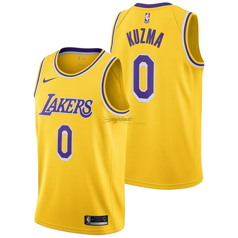 Nouveau Maillot NBA Nike Los Angeles Lakers NO.0 Kyle Kuzma Jaune Icon 2018-19