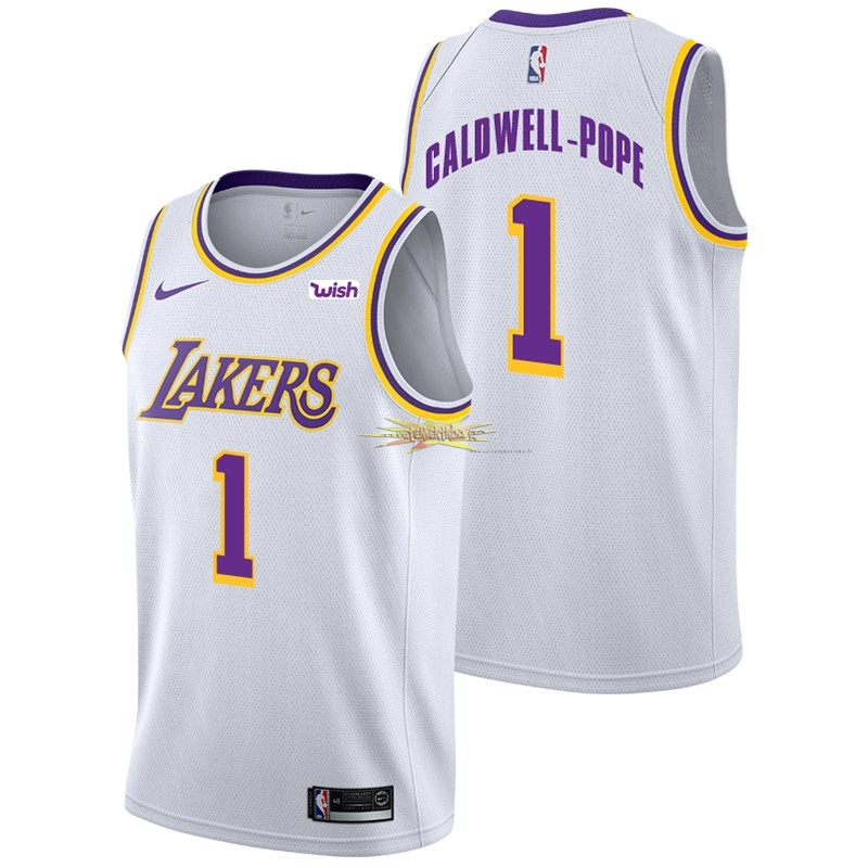 Nouveau Maillot NBA Nike Los Angeles Lakers NO.1 Kentavious Caldwell Pope Blanc 2018-19