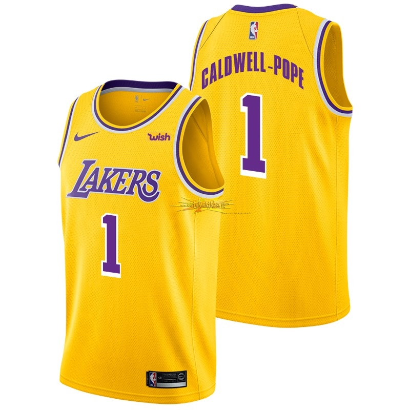 Nouveau Maillot NBA Nike Los Angeles Lakers NO.1 Kentavious Caldwell Pope Jaune 2018-19