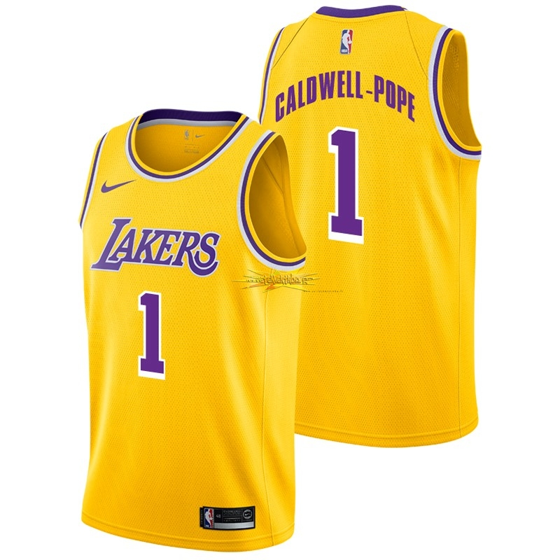 Nouveau Maillot NBA Nike Los Angeles Lakers NO.1 Kentavious Caldwell Pope Jaune Icon 2018-19