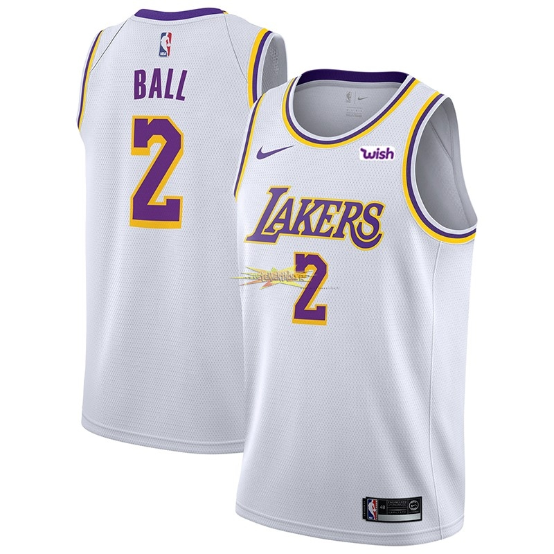 Nouveau Maillot NBA Nike Los Angeles Lakers NO.2 Lonzo Ball Blanc 2018-19