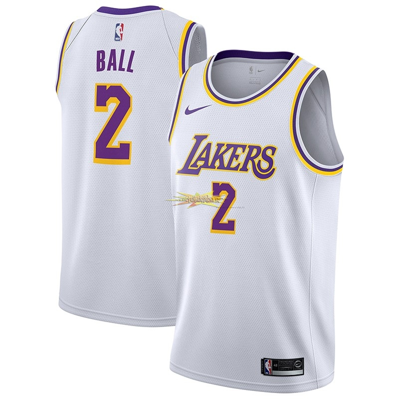 Nouveau Maillot NBA Nike Los Angeles Lakers NO.2 Lonzo Ball Blanc Association 2018-19
