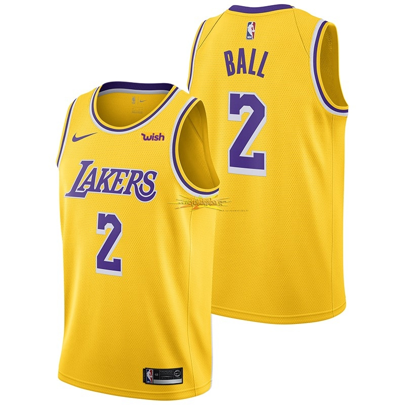 Nouveau Maillot NBA Nike Los Angeles Lakers NO.2 Lonzo Ball Jaune 2018-19