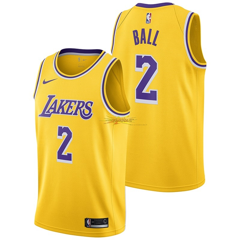 Nouveau Maillot NBA Nike Los Angeles Lakers NO.2 Lonzo Ball Jaune Icon 2018-19
