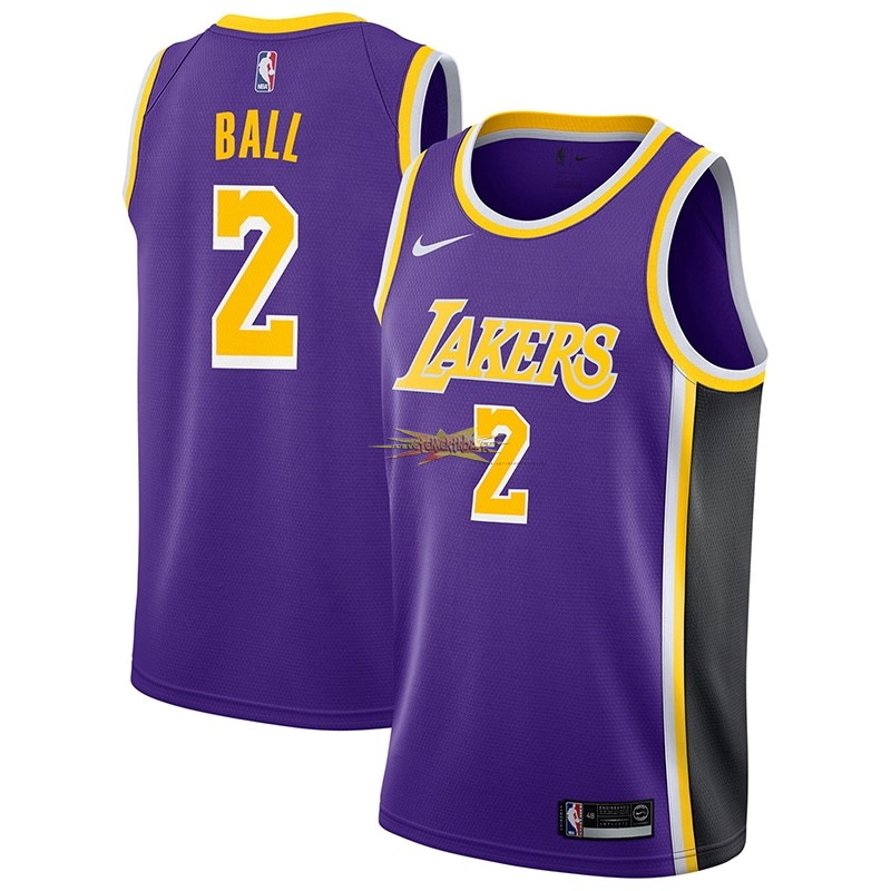Nouveau Maillot NBA Nike Los Angeles Lakers NO.2 Lonzo Ball Pourpre Statement 2018-19