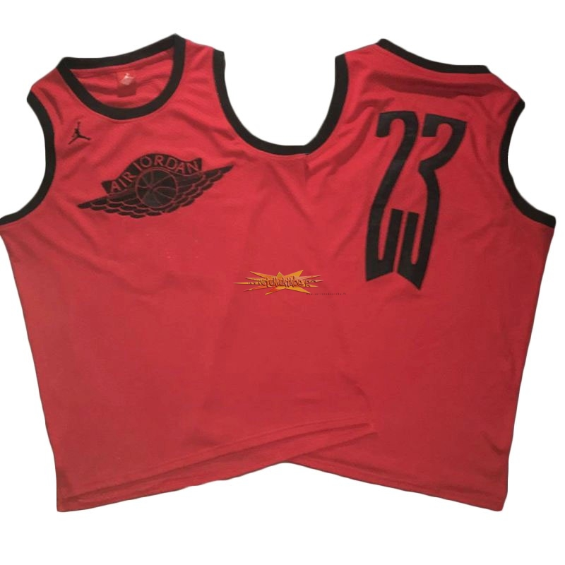 Nouveau Maillot NBA Chicago Bulls NO.23 Michael Jordan Flying Wing Logo Rouge