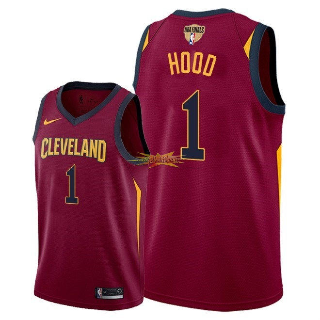 Nouveau Maillot NBA Cleveland Cavaliers 2018 Final Champions NO.1 Rodney Hood Rouge Icon Patch