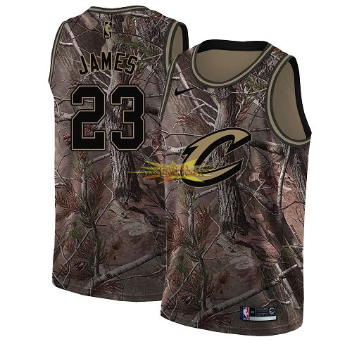 Nouveau Maillot NBA Cleveland Cavaliers NO.23 LeBron James Camo Swingman Collection Realtree 2018