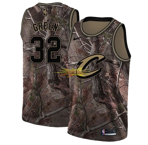 Nouveau Maillot NBA Cleveland Cavaliers NO.32 Jeff Green Camo Swingman Collection Realtree 2018