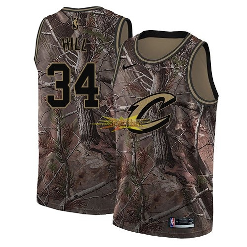 Nouveau Maillot NBA Cleveland Cavaliers NO.34 Tyrone Hill Camo Swingman Collection Realtree 2018