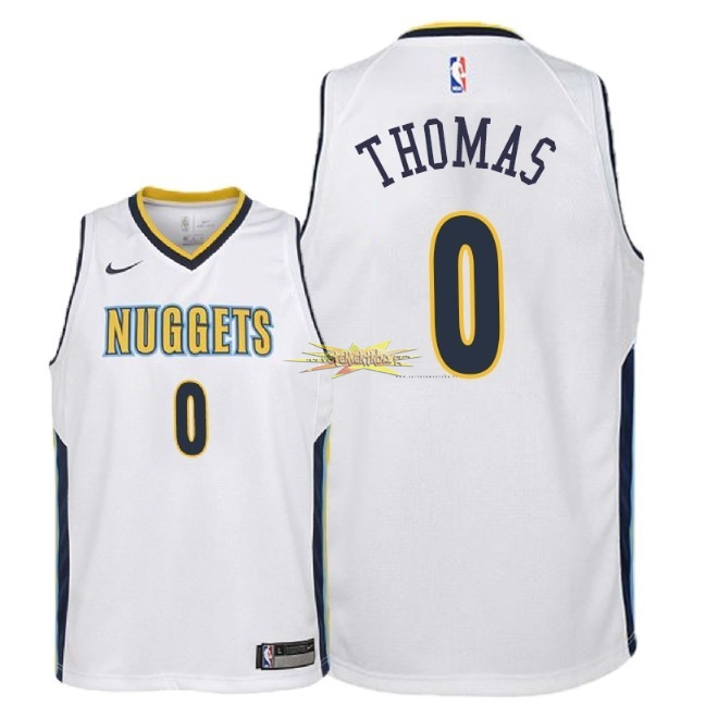 Nouveau Maillot NBA Enfant Denver Nuggets NO.0 Isaiah Thomas Blanc Association 2018
