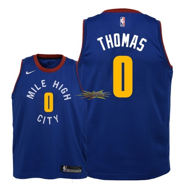 Nouveau Maillot NBA Enfant Denver Nuggets NO.0 Isaiah Thomas Bleu Statement 2018-19