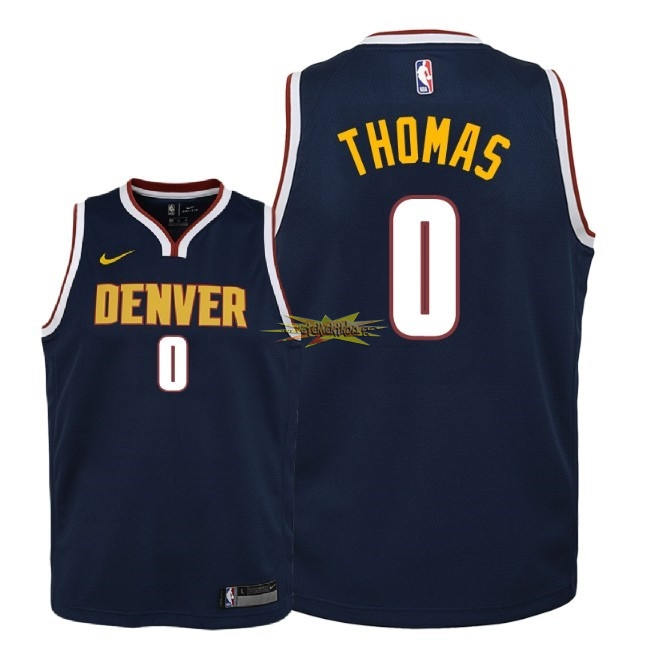 Nouveau Maillot NBA Enfant Denver Nuggets NO.0 Isaiah Thomas Marine Icon 2018-19