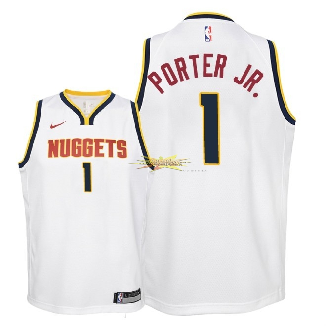 Nouveau Maillot NBA Enfant Denver Nuggets NO.1 Michael Porter Jr Blanc Association 2018-19