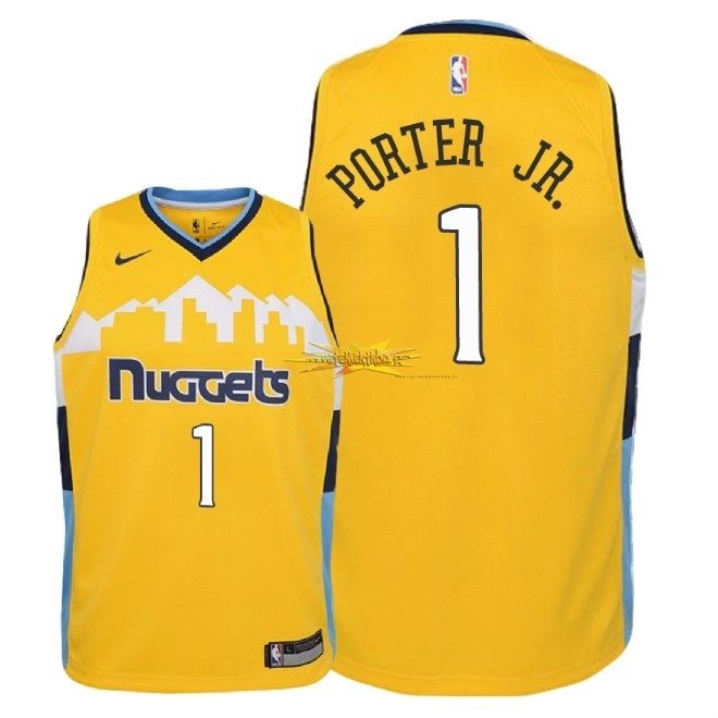 Nouveau Maillot NBA Enfant Denver Nuggets NO.1 Michael Porter Jr Jaune Statement 2018