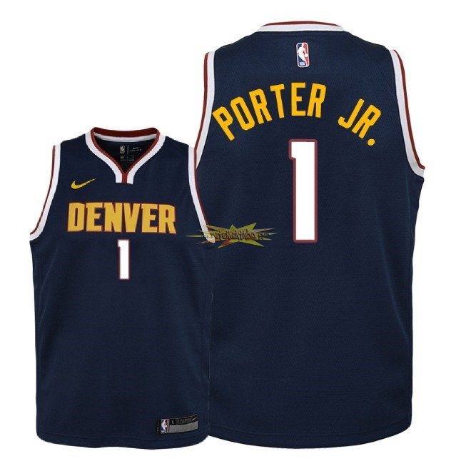 Nouveau Maillot NBA Enfant Denver Nuggets NO.1 Michael Porter Jr Marine Icon 2018-19