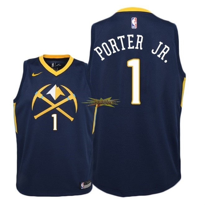 Nouveau Maillot NBA Enfant Denver Nuggets NO.1 Michael Porter Jr Nike Marine Ville 2018
