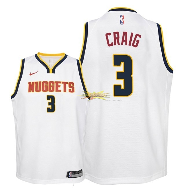 Nouveau Maillot NBA Enfant Denver Nuggets NO.3 Torrey Craig Blanc Association 2018-19