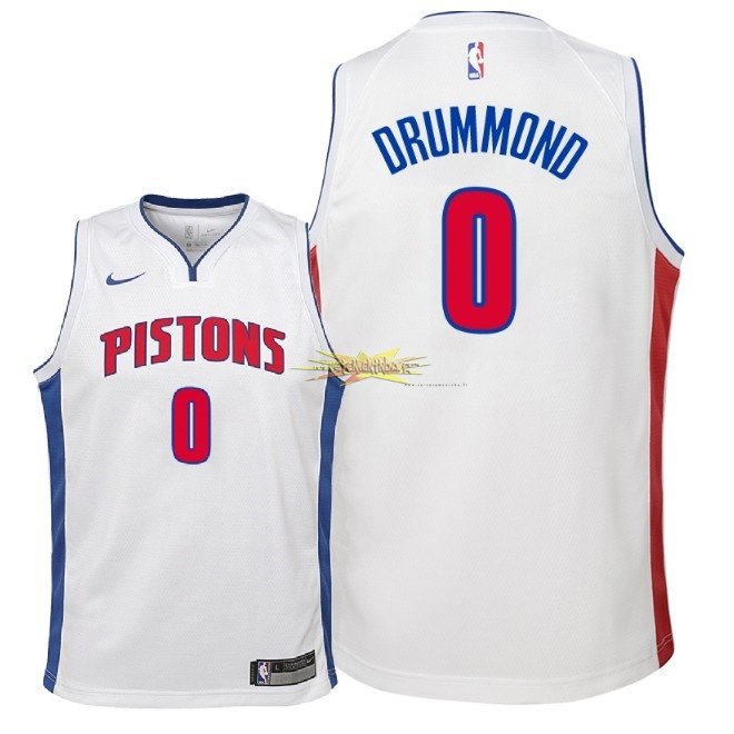Nouveau Maillot NBA Enfant Detroit Pistons NO.0 Andre Drummond Blanc Association 2018