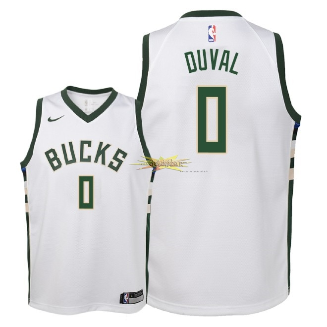 Nouveau Maillot NBA Enfant Milwaukee Bucks NO.0 Trevon Duval Blanc Association 2018-19