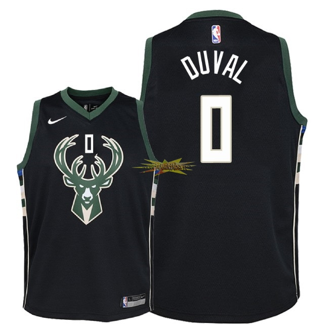 Nouveau Maillot NBA Enfant Milwaukee Bucks NO.0 Trevon Duval Noir Statement 2018-19