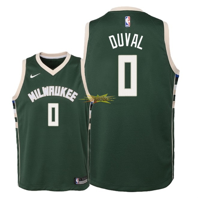 Nouveau Maillot NBA Enfant Milwaukee Bucks NO.0 Trevon Duval Vert Icon 2018-19