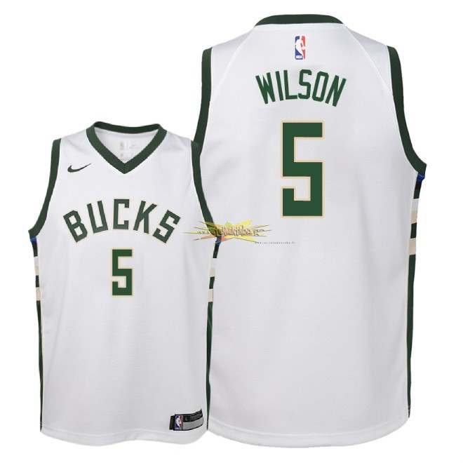 Nouveau Maillot NBA Enfant Milwaukee Bucks NO.5 D.J. Wilson Blanc Association 2018
