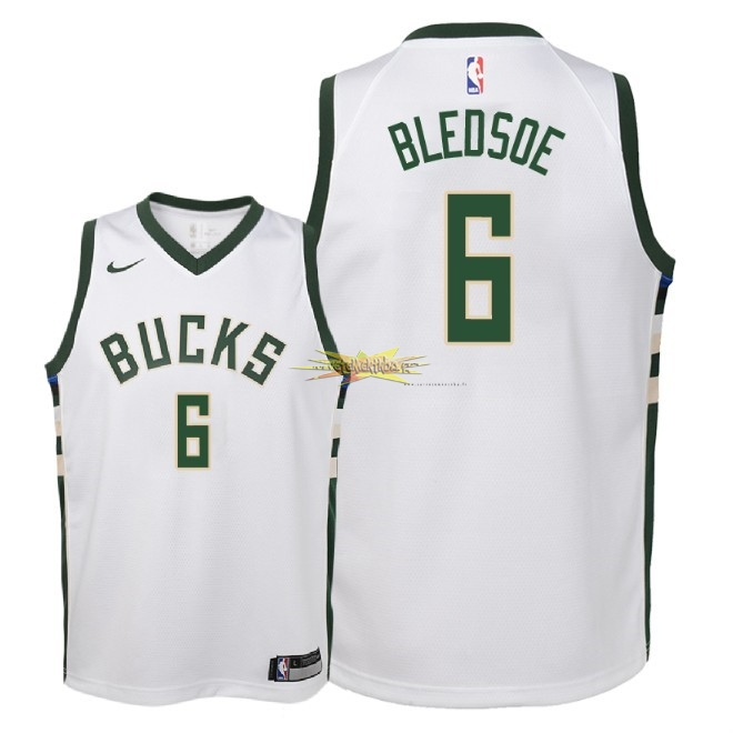Nouveau Maillot NBA Enfant Milwaukee Bucks NO.6 Eric Bledsoe Blanc Association 2018
