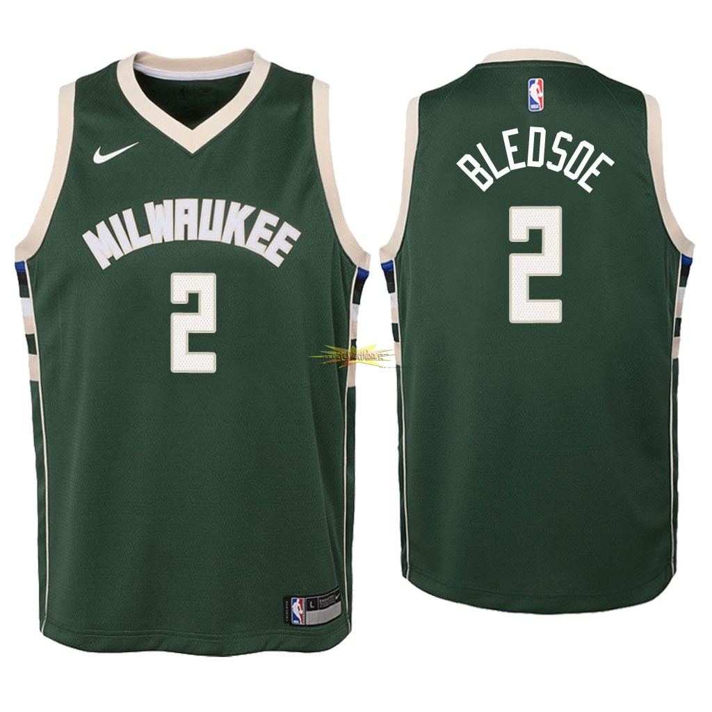 Nouveau Maillot NBA Enfant Milwaukee Bucks NO.6 Eric Bledsoe Vert Icon 2018