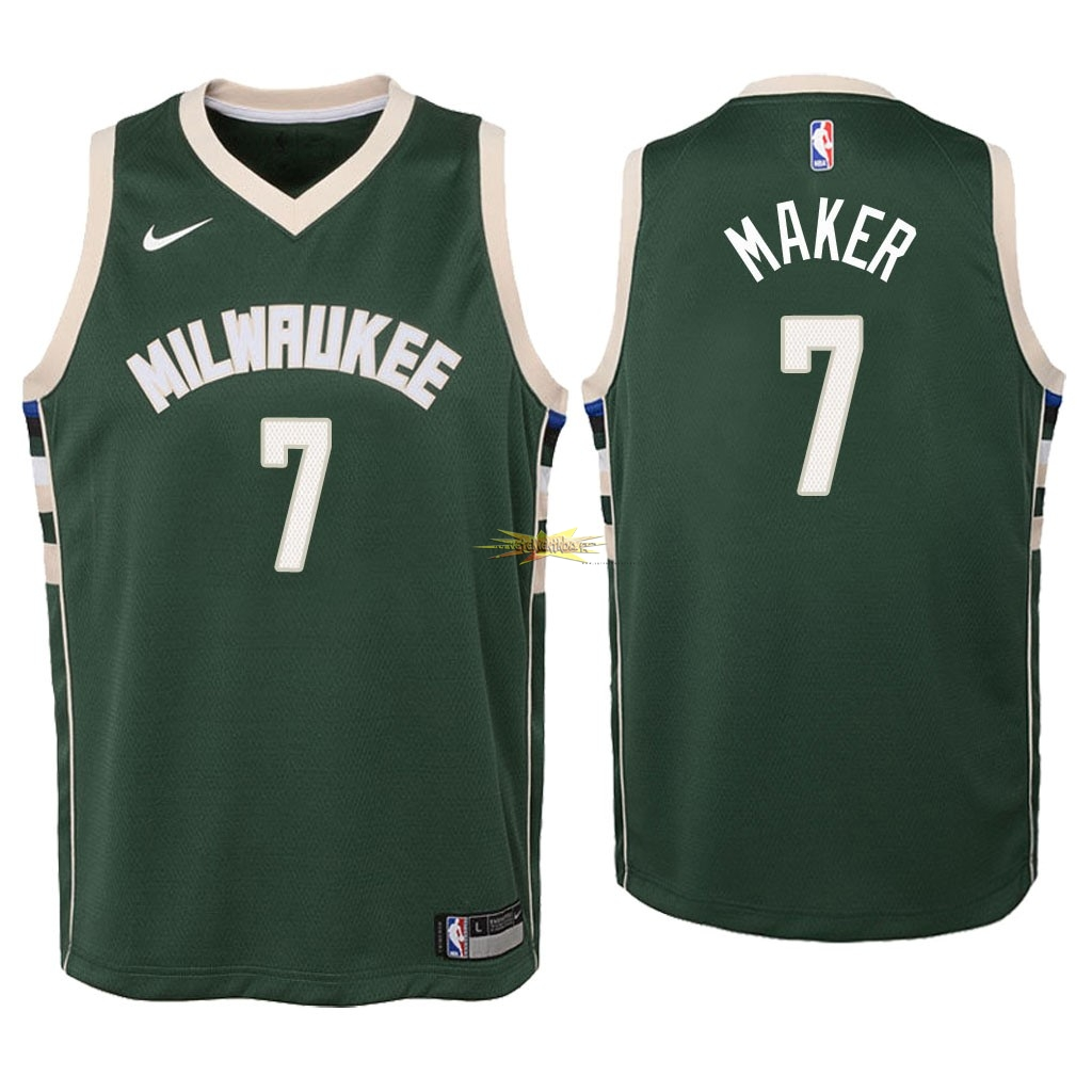 Nouveau Maillot NBA Enfant Milwaukee Bucks NO.7 Thon Maker Vert Icon 2018