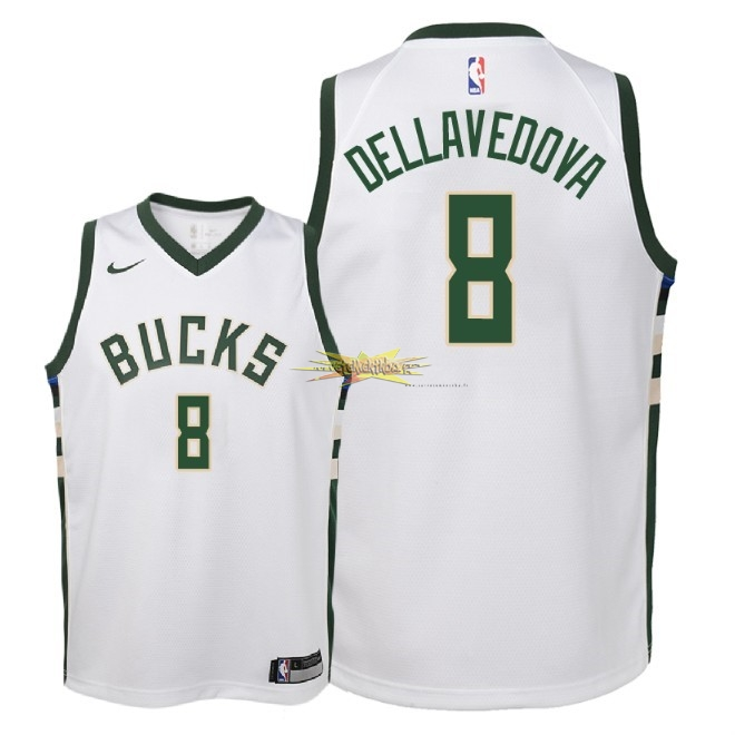 Nouveau Maillot NBA Enfant Milwaukee Bucks NO.8 Matthew Dellavedova Blanc Association 2018