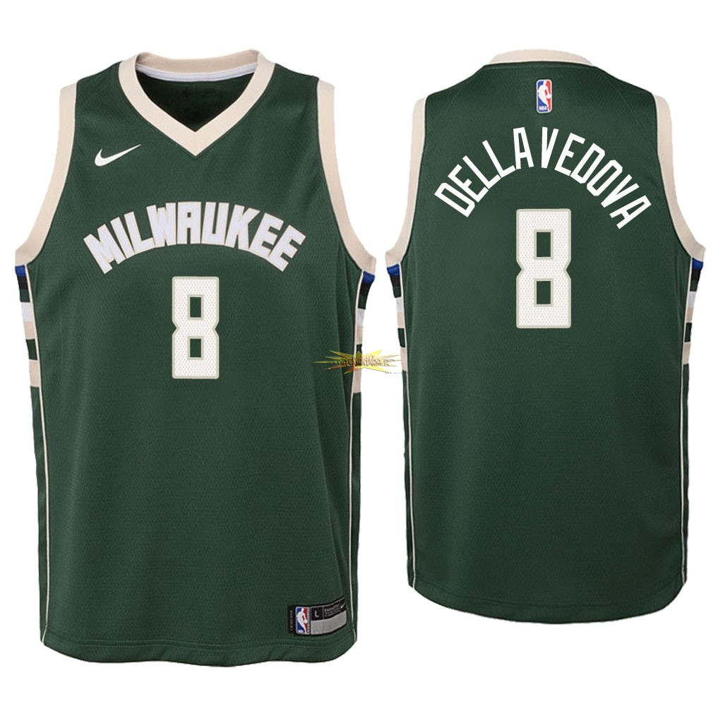 Nouveau Maillot NBA Enfant Milwaukee Bucks NO.8 Matthew Dellavedova Vert Icon 2018
