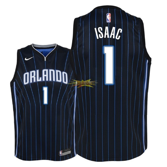 Nouveau Maillot NBA Enfant Orlando Magic NO.1 Jonathan Isaac Noir Statement 2018