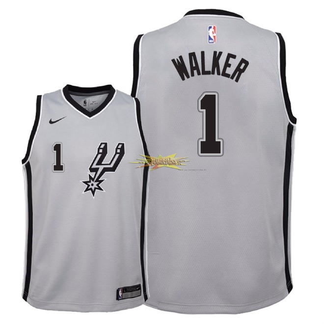 Nouveau Maillot NBA Enfant San Antonio Spurs NO.1 Lonnie Walker Gris Statement 2018