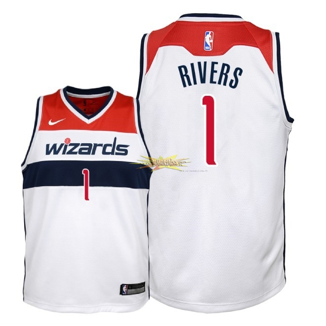 Nouveau Maillot NBA Enfant Washington Wizards NO.1 Austin Rivers Blanc Association 2018